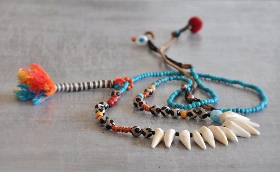 Boho Coral Teeth Necklace  Ethnic Tibet Agate by stellacreations