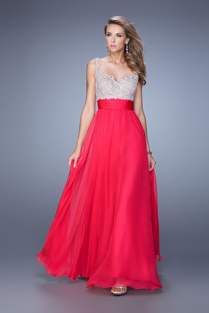2015 La Femme 21505 Sparkly Jewel Encrusted Hot Fuchsia Prom Dresses