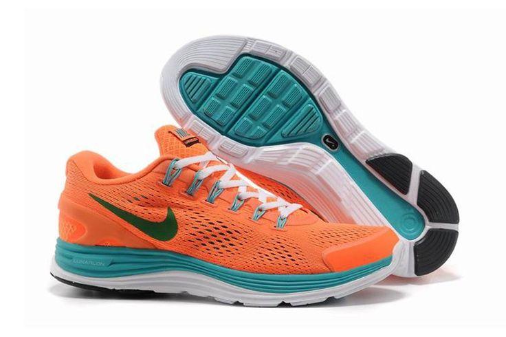 Nike LunarGlide+ 4 Mesh Orange Mørkgrøn Unisex