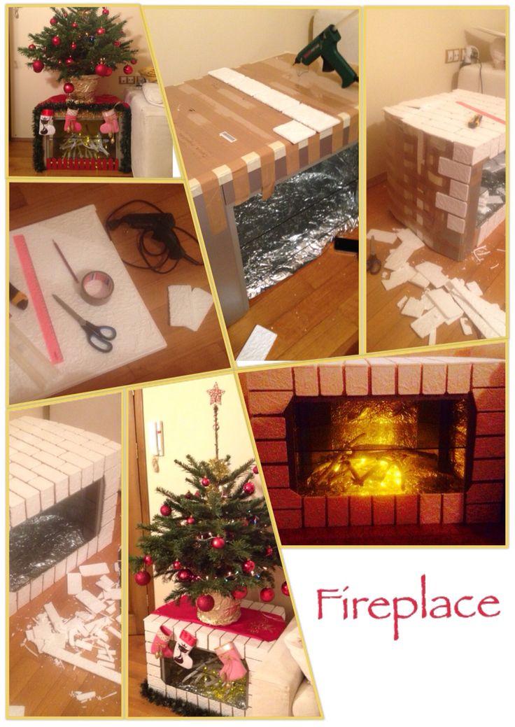Переделка тв-тумбы под камин. Потолочная плитка, фольга, скотч, немного термоклея, гирлянда. #fireplace #christmas #newyear #handmade