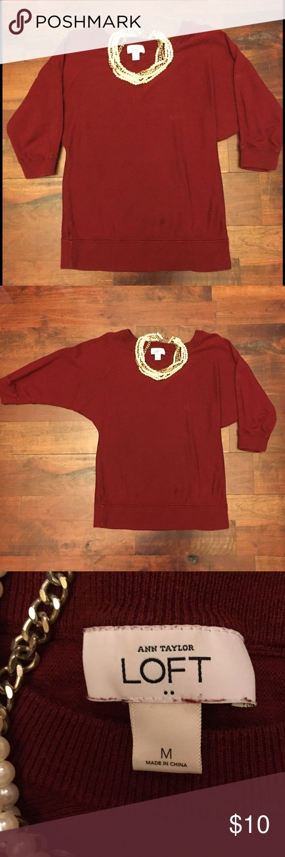 Anne Taylor Loft Sweater Cute and comfy red Loft sweater. LOFT Sweaters Crew & Scoop Necks