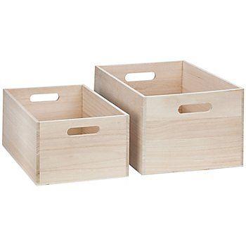 Caisses en bois brut, dim. : 36 x 26 x 19 cm et 32 x 22 x 15 cm, contenu : 2 pièces.Les caissessont idéales pour ranger vos ustensiles, outils, pinceaux, colles, pelotes de laine, etc.
