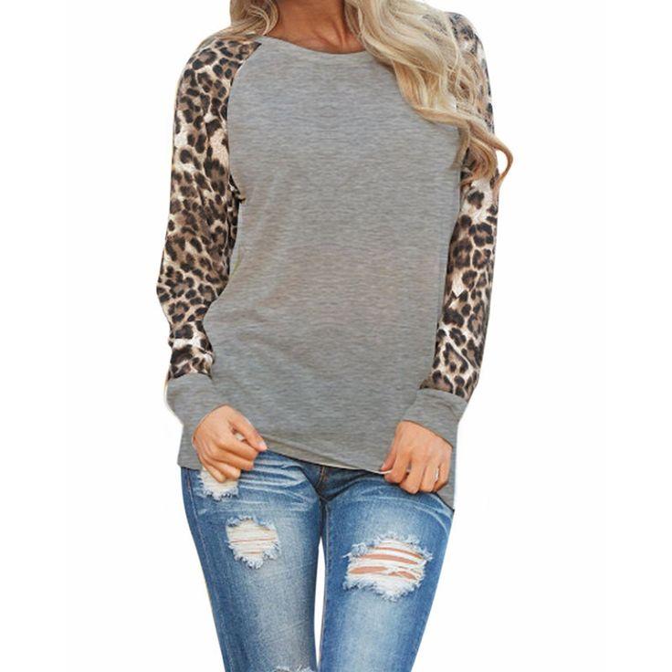 Women's Blouses Fashion Casual Shirts Tops Long Sleeve Leopard Chiffon Patchwork Casual