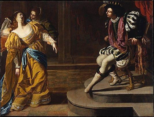 Artemisia Gentileschi (1593-1651/53), Esther before Ahasuerus, oil on canvas.                                             Artemisia Gentileschi              (Italian, Rome 1593–1651/53 Naples)                                                                                                                  Medium:                                        Oil on canvas