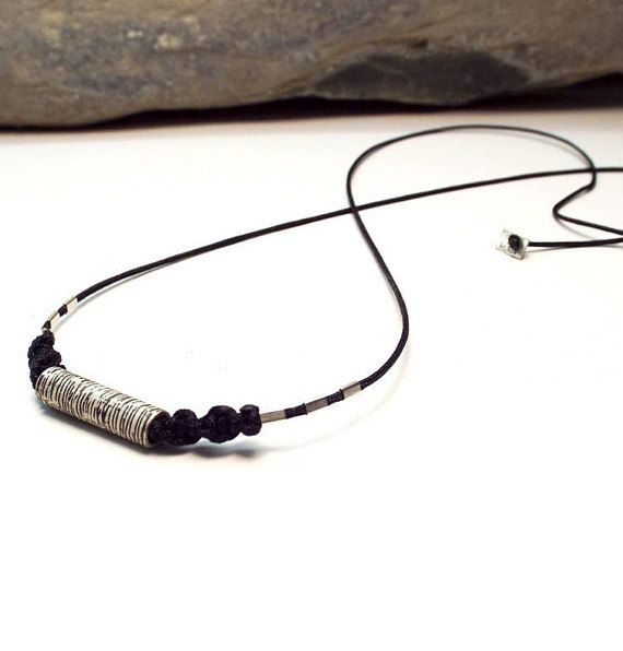 #etsy #necklace #black #silver #girls #boys #minimalist