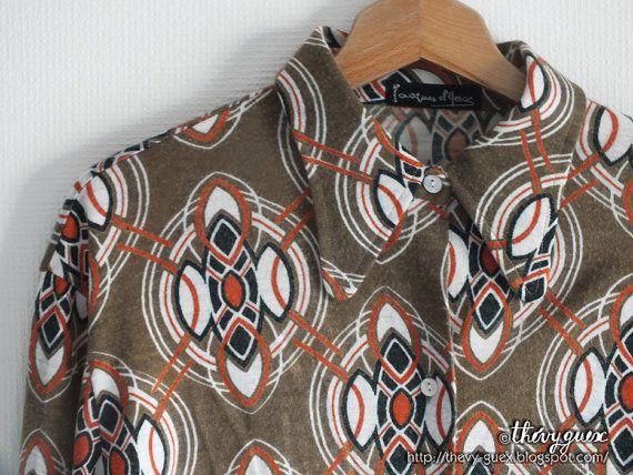 Vintage 70s Geometric Kaleidoscope Long Sleeves by goodiesoldies