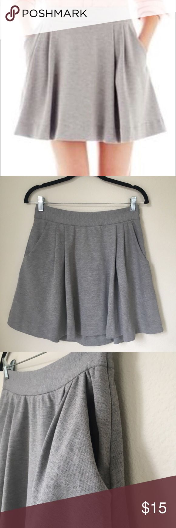 Joe Fresh Size Xsmall Skater Skirt with pockets Joe Fresh Size Xsmall Skater Skirt with pockets Gray Joe Fresh skater skirt with pockets! Great for the office with wedges, pumps or try a sporty / athleisure  look with a pair of Converse or Vans.   Color: gray  Size: xsmall  Material: 74% Polyester 22% Rayon 4% Spandex  Condition: new with out tags; washed but never worn Joe Fresh Skirts Circle & Skater