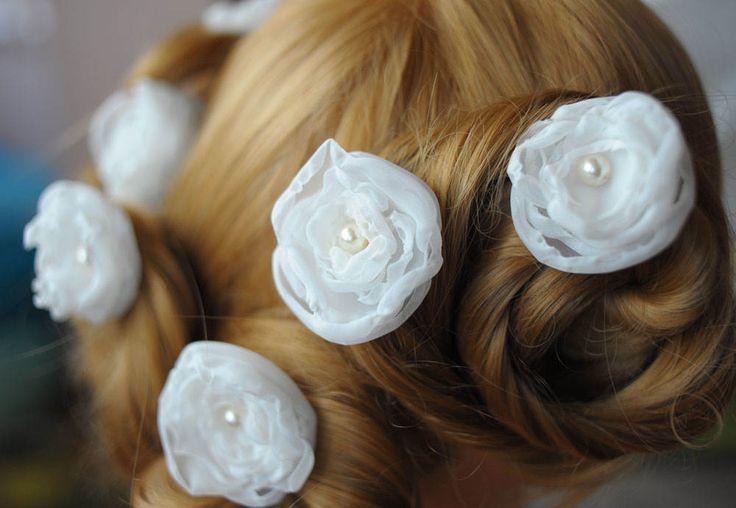 Ivory Beige floral hair pin bridesmaid hair pin hair boho hair lovely hairpin floral hair pins bridal hair pin flowers hair pins wedding pin by MyGlassLampwork on Etsy
