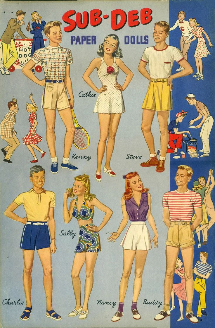 Sub-Deb Paper Dolls by Irving Nuricic, 1941 Merrill #3408 (9 of 9)