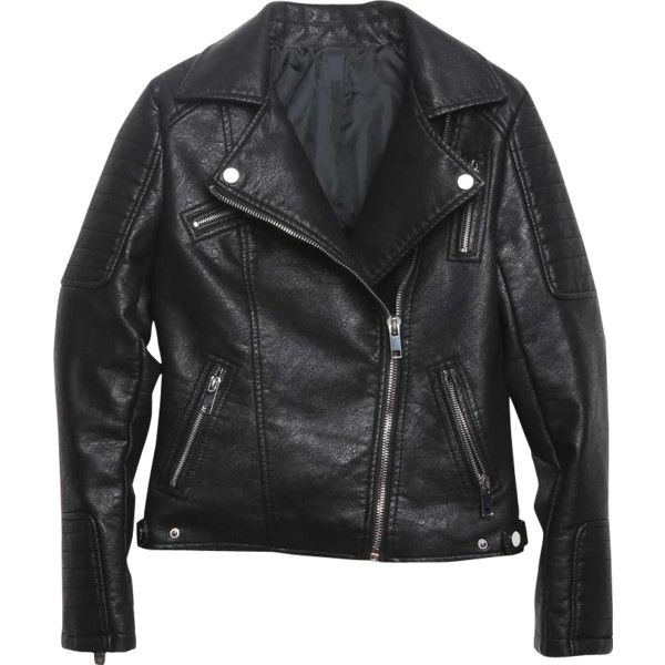 Relaxfeel Women's Anti-Collar Black Leather Jacket Black ($50) ❤ liked on Polyvore featuring outerwear, jackets, black, genuine leather jacket, collar jacket, leather jacket, real leather jacket and lapel jacket