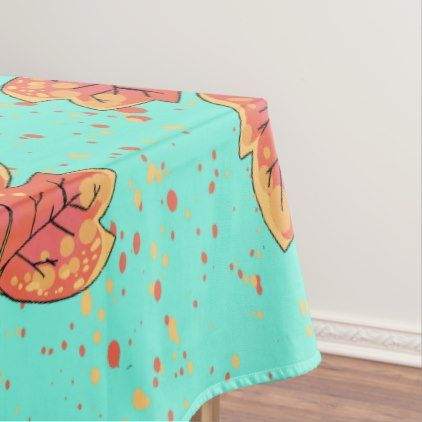 Elegant red maple fall pattern teal tablecloth - patterns pattern special unique design gift idea diy