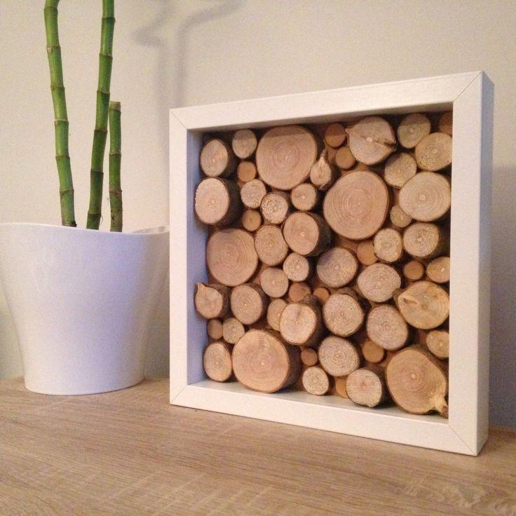 Tableau carré Nature & Bois sur cadre blanc : Décorations murales par coco-wood