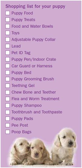 Puppy Shopping List