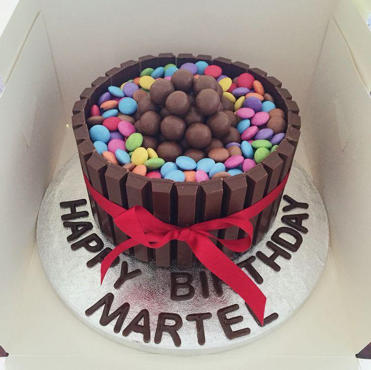 Chocolate cake. Kit kats, Maltesers and smarties