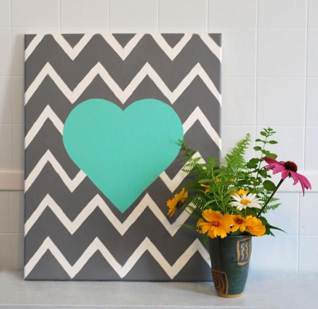 DIY Chevron : DIY Chevron Wall Art Heart : DIY home decor (I WANT TO DO THIS IN GRAY AND PINK FOR MY ALLY BUGS ROOM)