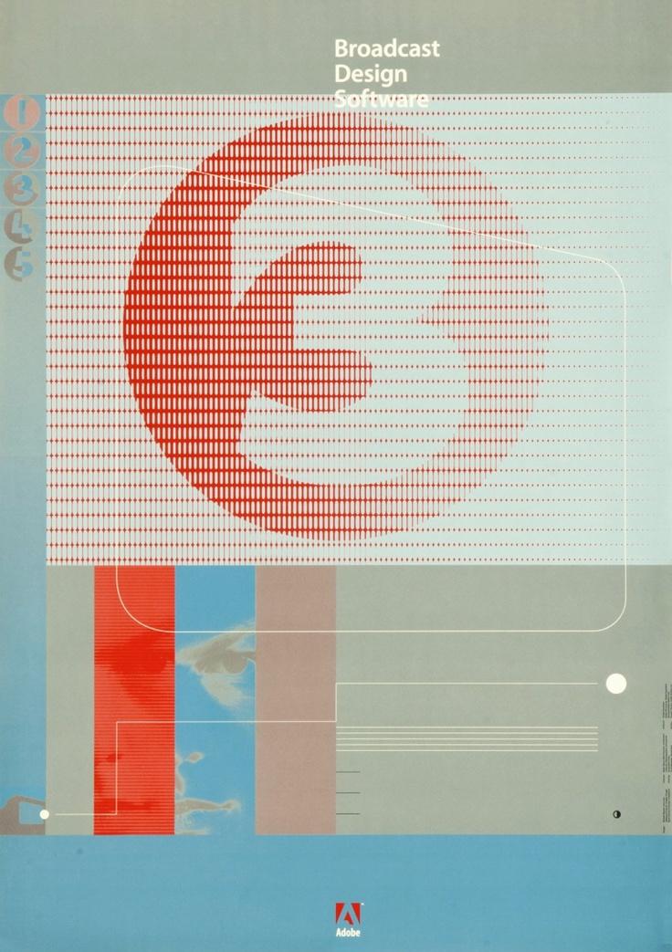Adobe, Broadcast design software. Designer: Michael Renner, instructor, Advanced Class for Graphic Design Basel School of Design. 1995. Carnegie Mellon Swiss Poster Collection.