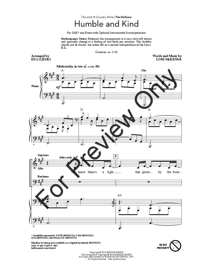 Humble and Kind (SAB) by Lori McKenna/arr.    J.W. Pepper Sheet Music