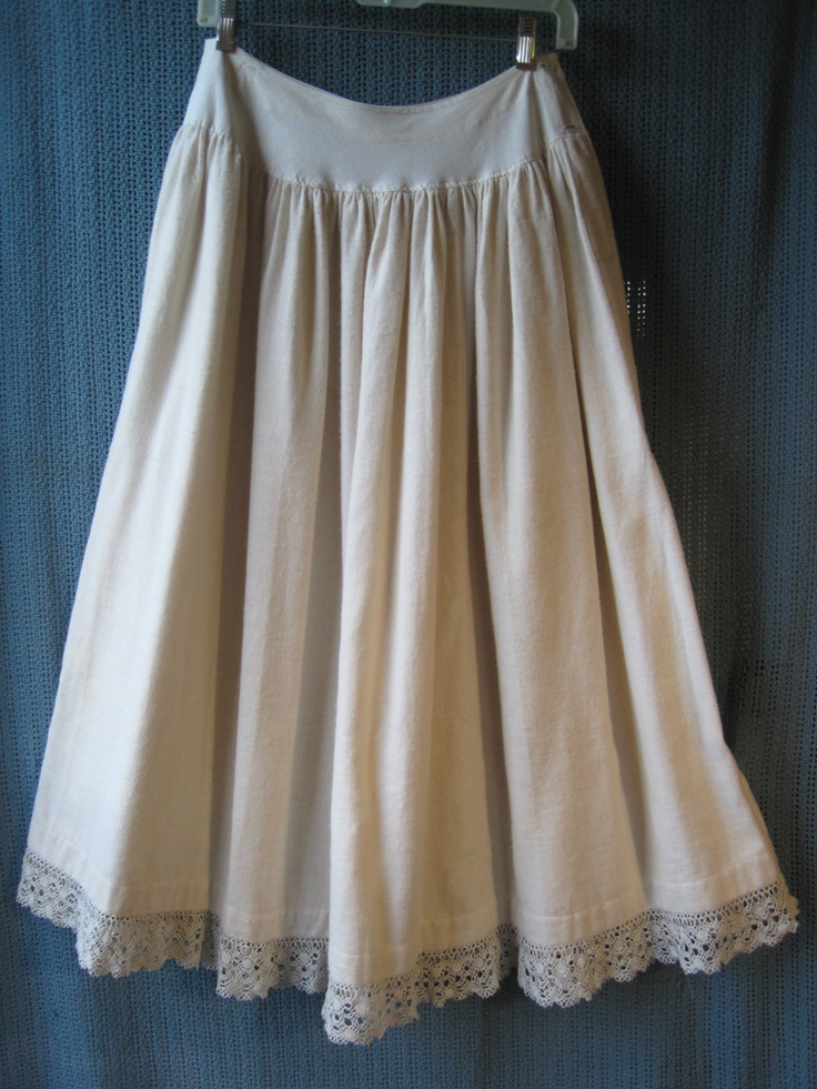 Antique Victorian Wool Flannel Petticoat Crochet Hem Cream ...