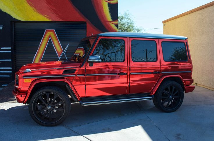 Mercedes Benz G Wagon - Factory White ---- Red Chrome Black Chrome: Roof & Side Mirrors Gloss Black: Tire Cover & Interior Headlights Matte Black: Hinges, Front Trim, Window Trim & Interior Trim