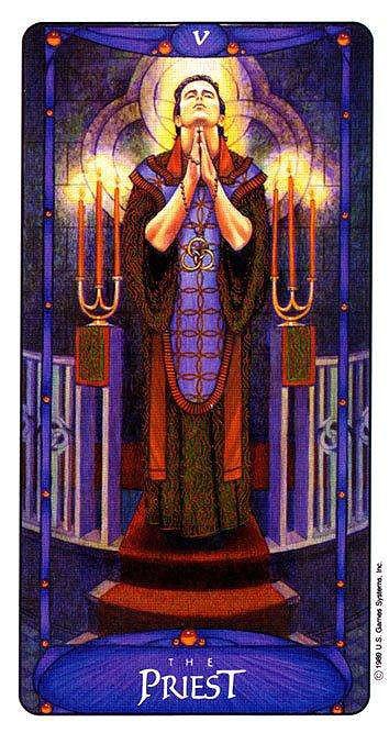 The Priest (The Hierophant) - Art Nouveau Tarot