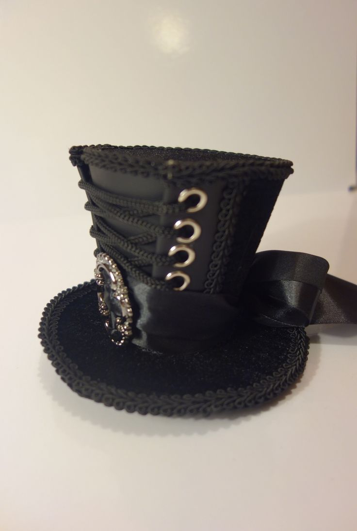 Black Steampunk Mini Top Hat with Silver Buckle - The Littlest Costume Shop in Melbourne