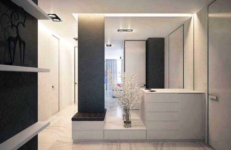 Интерьер прихожей создан легким воздушным, благодаря открытому пространству и белому цвету.