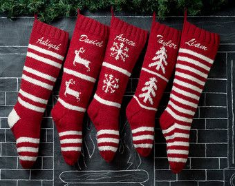 HAND KNIT WOOL PERSONALIZED CHRISTMAS STOCKING  Update your holiday decor with traditional hand knitted wool Christmas stockings. Our beautiful heirloom quality hand made Christmas socks will be treasured for many years. ♥ ❤ ♥ ❤ PRODUCT DETAILS ♥ ❤ ♥ ❤  Our Christmas stockings are made the old fashion way, each one is knit by hand using high quality wool yarns. They measure (flat) 7 inches in width and 24 inches from toe to cuff.**  All of our Christmas stockings point in the same direction…