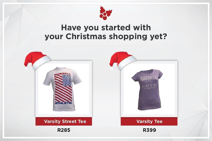 Christmas is around the corner! Get your Christmas shopping done at www.russellathletic.co.za now!
