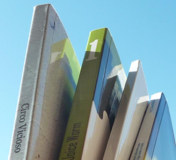 Lombadas de alguns livros.