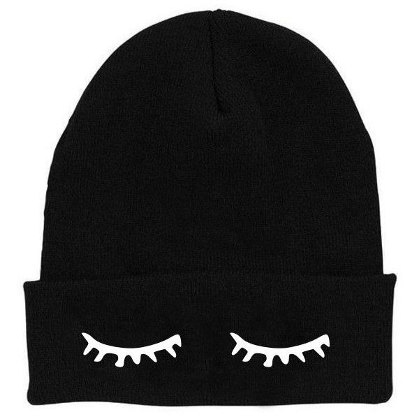 Sleepy Eyes Beanie Black Sleeping Closed Eyes Lashes Zoella Zoe Sugg... (41 BRL) ❤ liked on Polyvore featuring accessories, hats, beanies, black, embroidered beanie hats, beanie hats, beanie caps, embroidered beanie and acrylic beanie