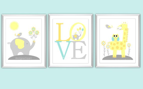 Baby Nursery Wall Art Aqua Teal Yellow Orange LOVE Elephant Giraffe Owl Baby Decor Boy Girl Baby Animals 3 PRINT SET on Etsy, $25.00
