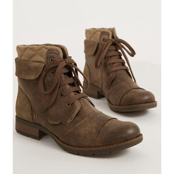 Not Rated Colleen Boot - Brown US 10 ($60) ❤ liked on Polyvore featuring shoes, boots, brown, faux-fur boots, not rated shoes, short brown boots, leather lace up boots and brown leather lace up boots