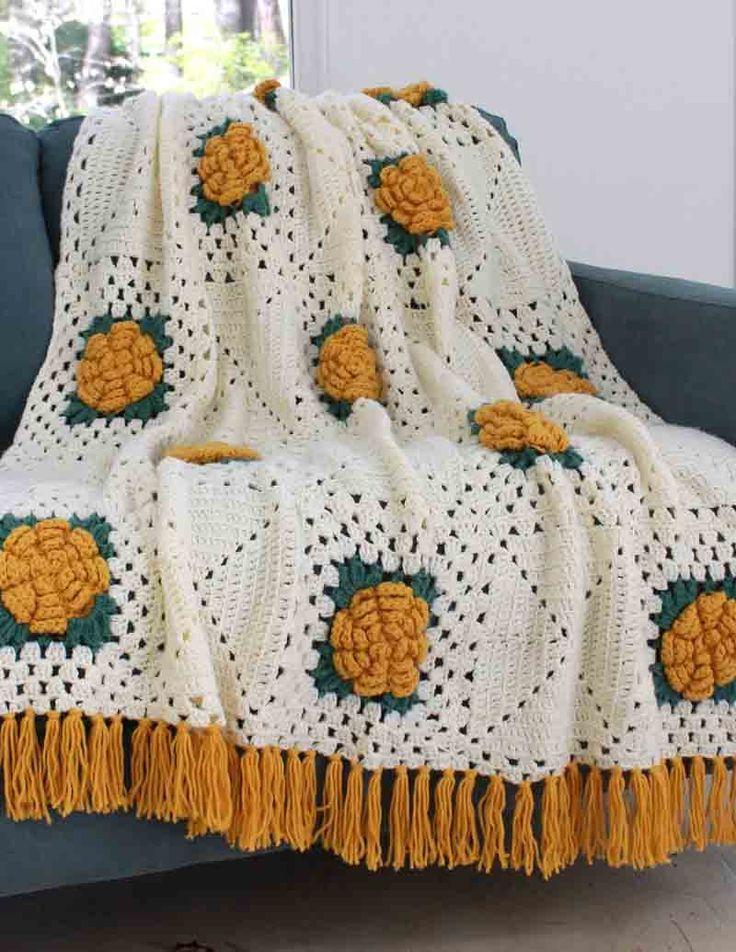 Fashion Rose Afghan Crochet Pattern