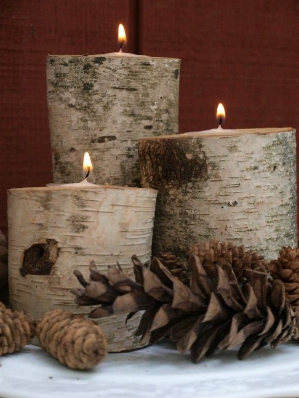 Bougies bouleau tronc décoration