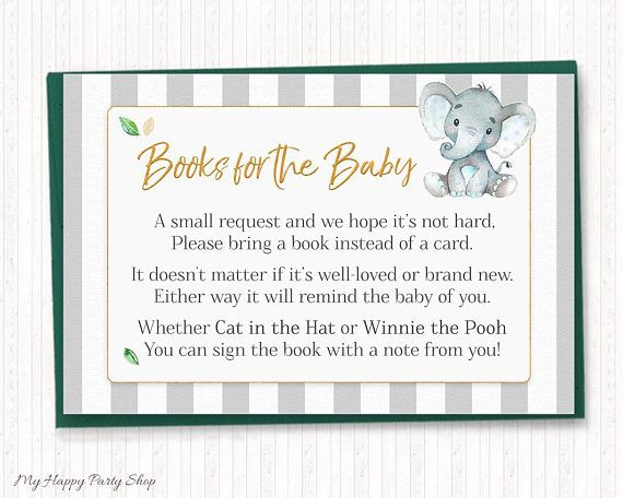 Elephant Baby Shower Bring a Book Instead of a Card, Cute Elephant Book Request, Baby Boy, Printable, Digital, Instant Download - BSU046
