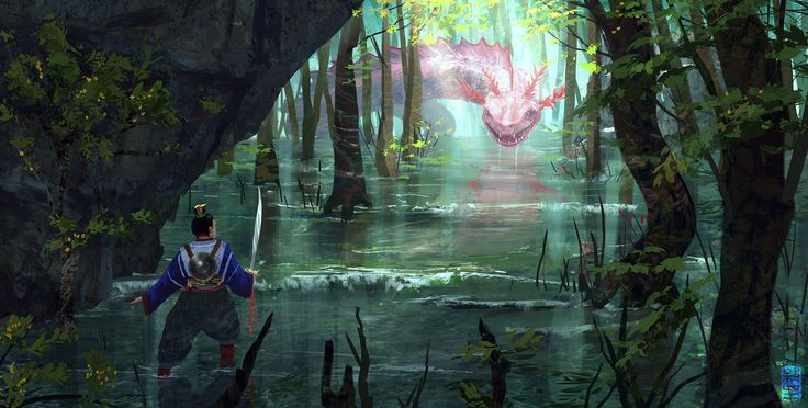Encounter in the Orient. A wandering warrior comes face to face with a serpent in shallow waters.  -Joshua Hutchinson