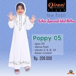 Baju Muslim Gamis Anak Qirani Poppy 05 Putih