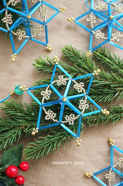 Купить НОВИНКА! Объемные звезды из чешского стекляруса. Набор из 4 шт. - синий, снежинки из бисера