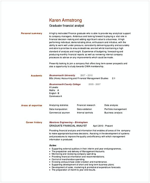 Graduate Financial Analyst Resume Template 1 Financial Analyst Resume Sample If You Are The One That Searches For F Financial Analyst Resume Resume Summary
