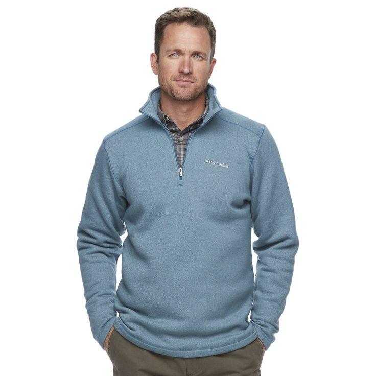 Men's Columbia Ortega Oaks Quarter-Zip Fleece Jacket, Size: Medium, Dark Blue
