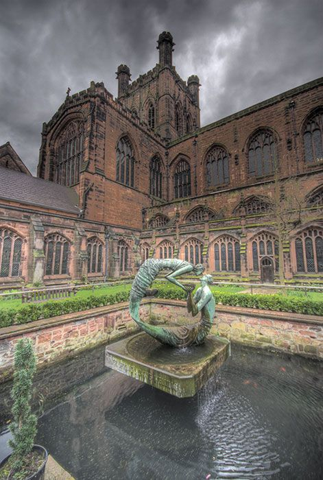 Chester Cathedral Courtyard, Chester, England, dates from 1093