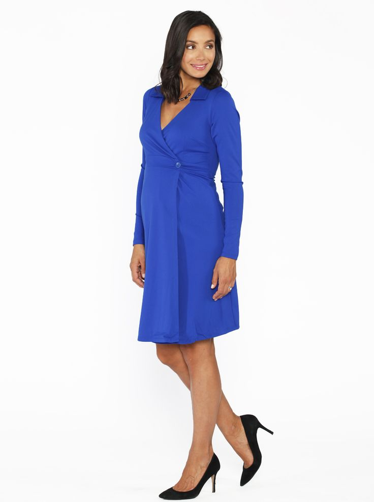 Maternity Mock Wrap Dress in Blue, $69.95, can easily transition from a day at work to evening  glamour.