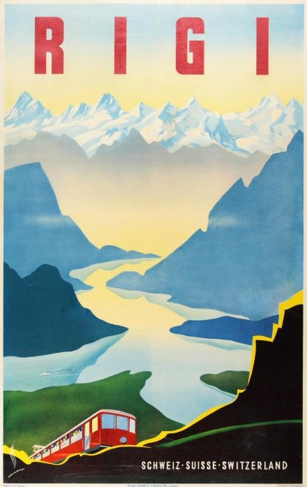 1940s Rigi, Switzerland Printed in 1948 by C.J Bucher in Luzern.: Switzerland Rigi, Vintage Poster, Switzerland Travel, Swiss Posters, Travel Posters, Vintage Travel