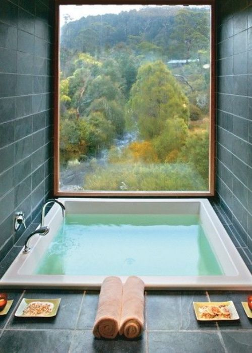 someone please install this for me asap. view included. This is such a beautiful view, I love baths right in front of windows, and sunken baths are just perfect since it doesn't obstruct the view whatsoever #bathroom #inspiration