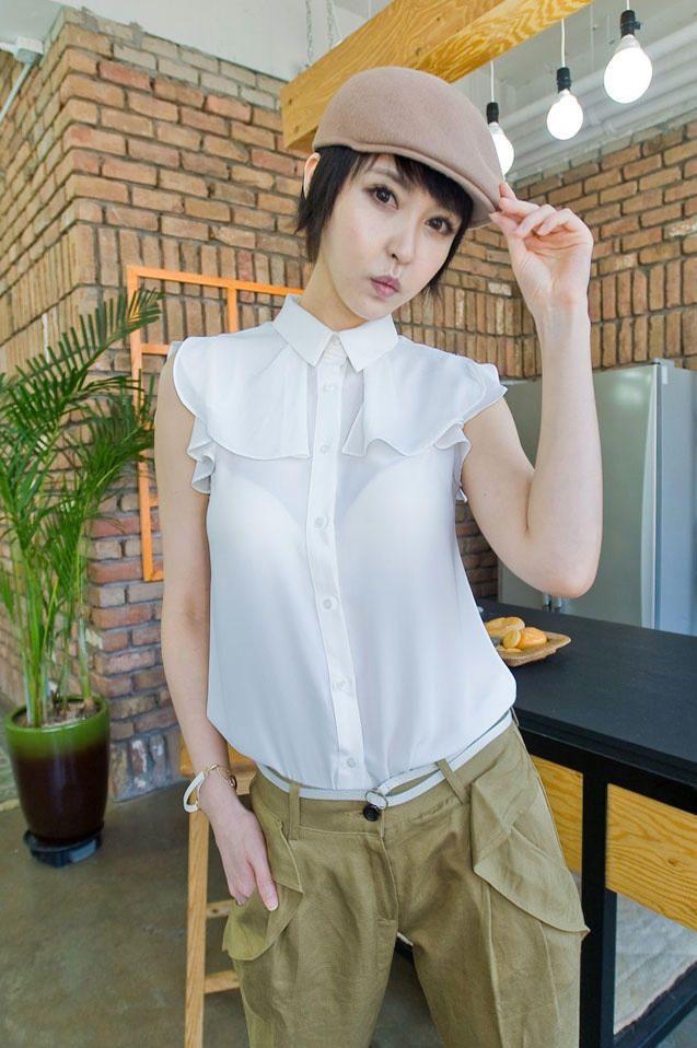 feminine cape sleeveless blouse from Kakuu Basic. Saved to Kakuu Basic Blouses & Shirts.