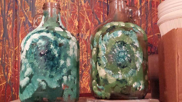 Painted jugs!  #paintonglass