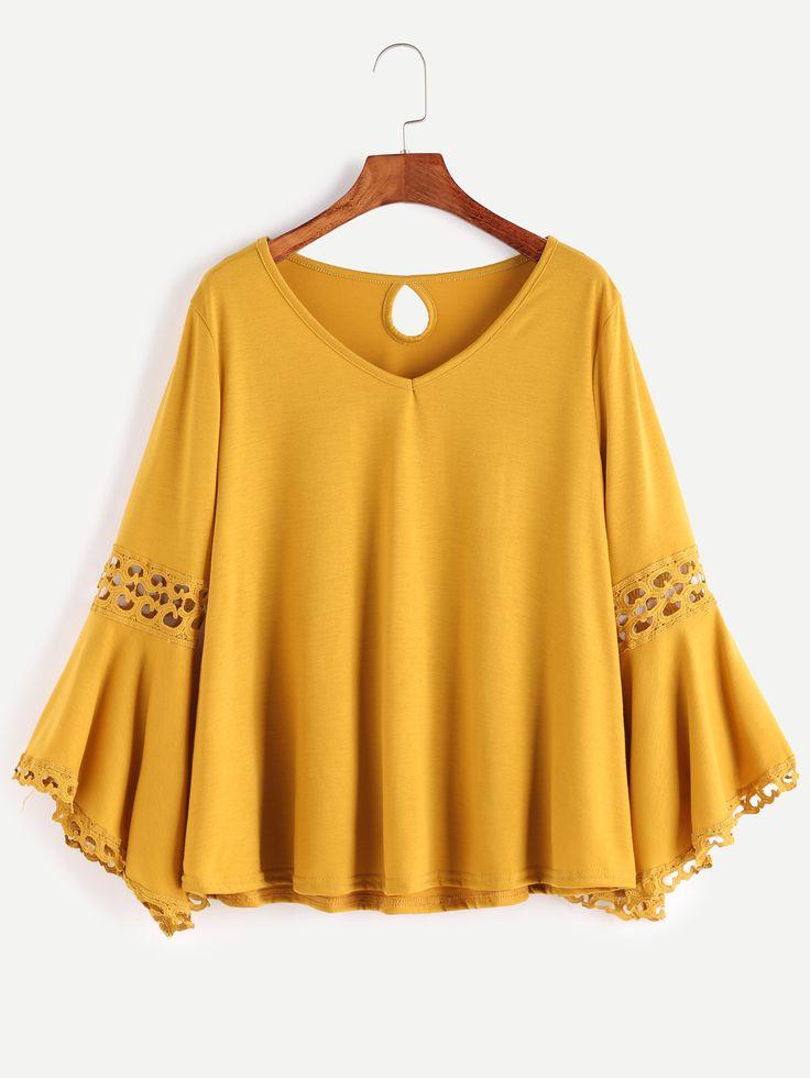 Camiseta con cuello en V de croché espalda con abertura - amarillo-Spanish SheIn(Sheinside)