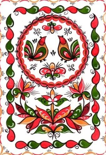 Folk Rakulskaya painting from Northern Russia. Floral pattern with two birds.
