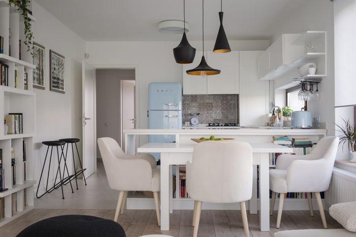 White and pastel, livingroom, open kitchen, apartment