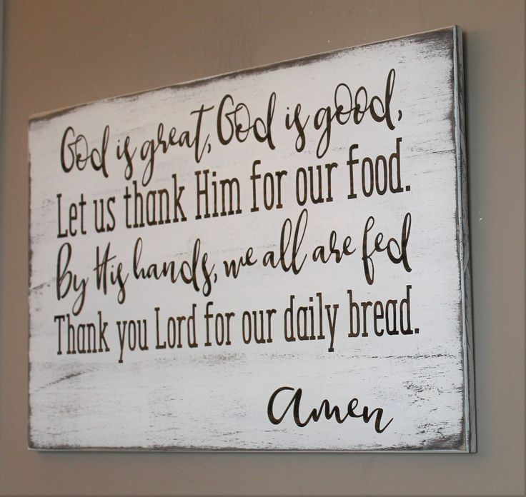 Kitchen Prayer Quotes: God Is Great, God Is Good, Dining Room Wall Decor, Prayer